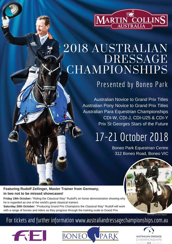 The Martin Collins Australian Dressage Championships at Boneo Park 17-21st October 2018